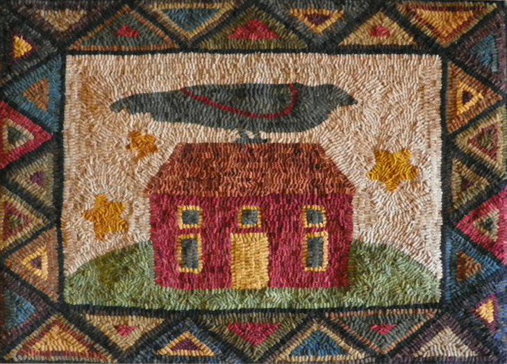 Crow house hooked rug