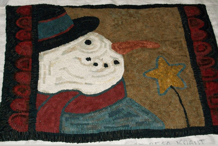 Snowman hooked rug