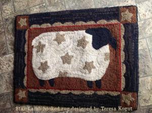 Star Lamb hooked rug