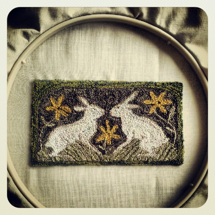 bunnies, punchneedle, spring, pattern